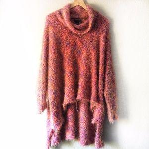 BCBGMaxAzria Pink Knit Slouchy Dolman Turtleneck